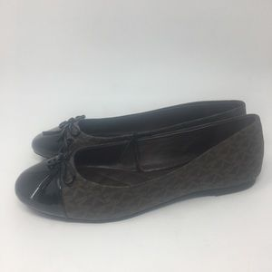 Michael Kors Signature Flats Brown Black 8.5 NWT